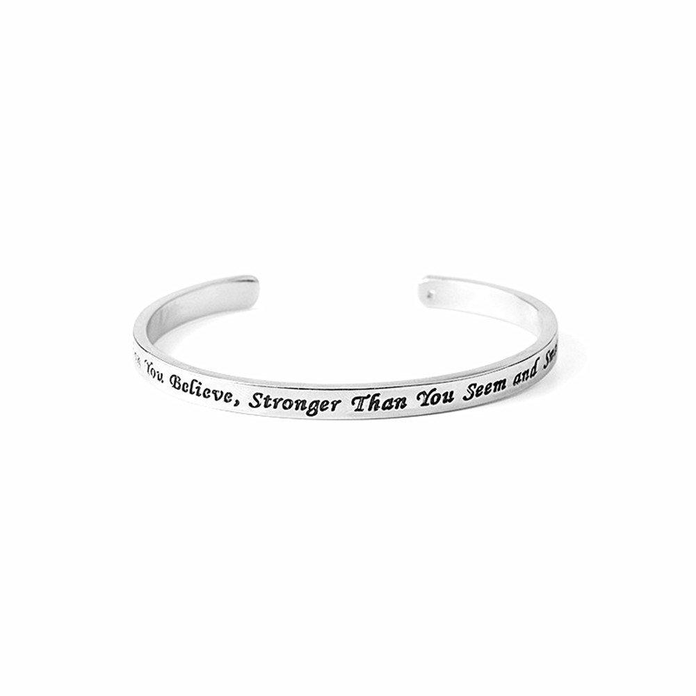 AIUIN - Anello in argento con scrittaInspiration, accessorio per amici, idea regalo, misura regolabile, con custodia