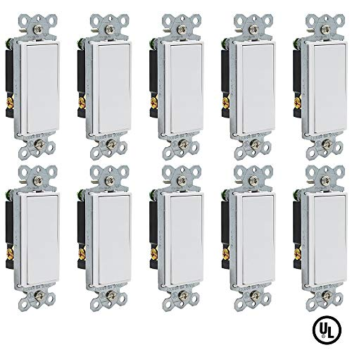 ESD Tech 15 Amp Rocker Paddle Light Switches 3-Way, 10 Pack, 120V AC Decorator Quiet Wall Switch, Residential/Commercial Grade, White, UL Listed, Standard Size
