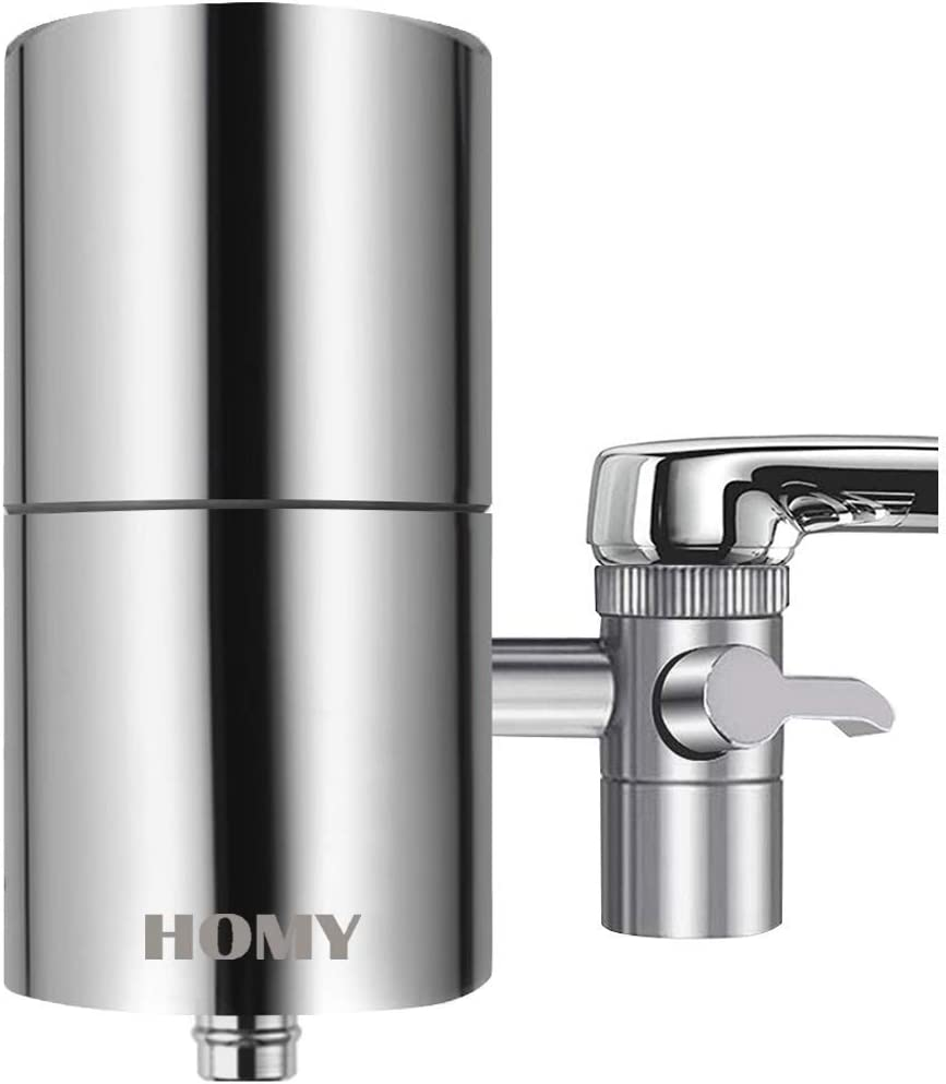 HOMY Faucet Mount Water Filter, SUS304 Stainless Steel Housing & Multiple High Precision Filtration System Reduce Chlorine, Fluoride, BPA Free, Fits Standard Faucets,Home Healthy Drinking Water Filter