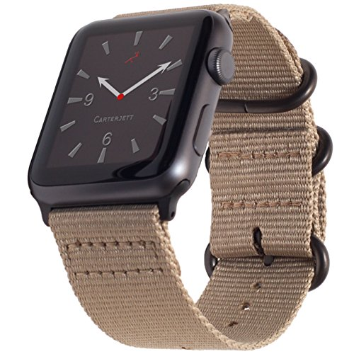 (Carterjett Compatible Apple Watch Bands 42mm 44mm Tan Nylon iWatch Band Replacement Strap Light Brown Woven Canvas Gray Steel NATO Buckle Compatible Apple Watch Series 4 3 2 1 Sport (42 44 S/M/L Tan))