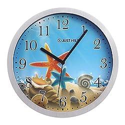 JustNile 10 Creative Round Quiet Silver Frame Wall Clock - Seastar