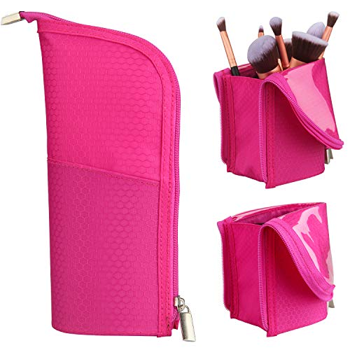 Makeup Brush Holder Organizer Bag Professional Artist Brushes Travel Bag Stand-up Makeup Cup Waterproof Dust-proof Brush Storage Pouch Case (Rose Red)