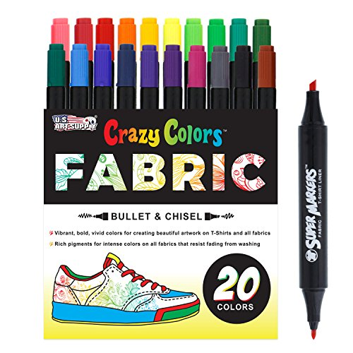 Super Markers 20 Unique Colors Dual Tip Fabric & T-Shirt Marker Set-Double-Ended Fabric Markers with Chisel Point and Fine Point Tips - 20 Permanent Ink Vibrant and Bold Colors by US Art Supply