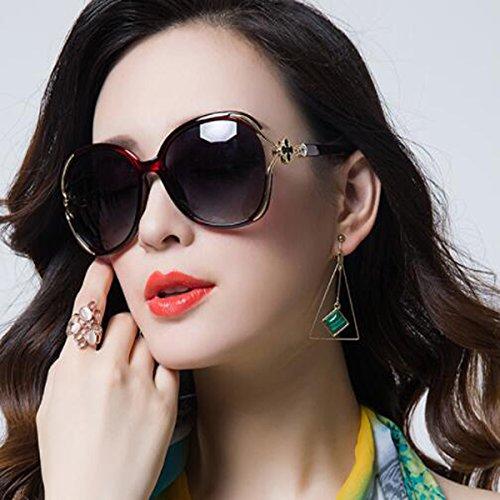 Señoras Purple De Sol Gafas UV Cara Protección Sol De Marea Gafas Gafas Redonda LQQAZY Polarizadas Brown xWqIZYnY