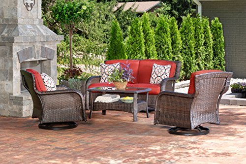 Hanover STRATH4PCSW-LS-RED Strathmere 4 Piece Lounge Set, Outdoor Furniture, Crimson Red