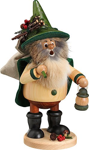 German Incense Smoker Forest Gnome Hiker, green - 25cm / 10inch - Drechselwerkstatt Uhlig (German Incense Smoker)