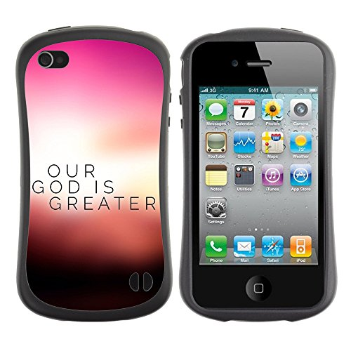 DREAMCASE Citation de Bible Silicone et Rigide Coque Protection Image Etui solide Housse T¨¦l¨¦phone Case Pour APPLE IPHONE 4 / 4S - OUR GOD IS GREATER