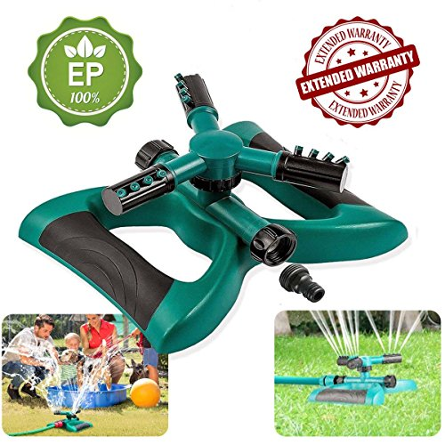 Lawn Sprinkler, Automatic 360 Rotating Adjustable Garden Water Sprinklers Lawn Irrigation System Covering Large Area with Leak Free Design Durable 3 Arm Sprayer, Easy Hose Connection by LJX