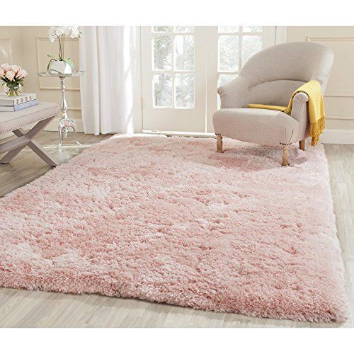 Safavieh Arctic Shag Collection SG270P Handmade Pink Polyester Area Rug (5' x 7'6