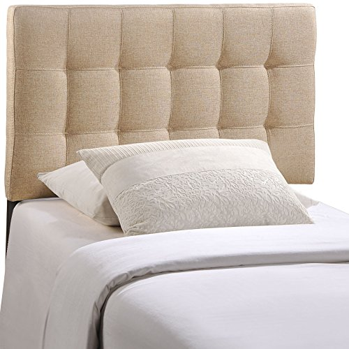 Modway AMZ-5148-BEI Lily Upholstered Tufted Fabric Twin Headboard Size in Beige