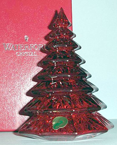 Waterford Crystal Red Christmas Tree Sculpture Figurine 6.5'' H New In Box