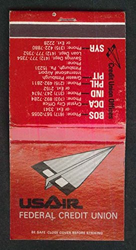 USAir Federal Credit Union paper airplane logo airline matchbook from The Jumping Frog