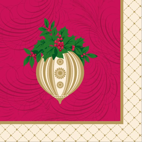 C.R. Gibson Decorated 3-Ply Paper Napkins, Dinner Size, 20-Pack, Gilded Ornament