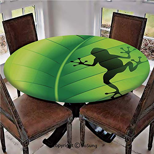 (Elastic Edged Polyester Fitted Table Cover,Silhouette of a Frog on the Exotic Macro Tropical Leaf Plant Wild Life Nature Illustration,Fits up to 36