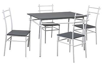 Table Et 4 Chaises Quto Gris Amazonfr Cuisine Maison