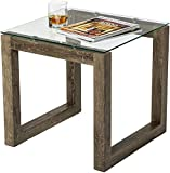 Mango Steam Dakota End Table - Blonde Oak - Clear Tempered Glass Top and Distressed Wood Finish