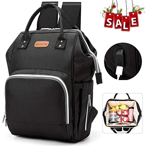 Large Diaper Bag Backpack, Totech Anti-Water Maternity Nappy Bags Changing Bags with Insulated Pockets and Stroller Straps, Multi-Functional Travel Back Pack Built-in USB Charging Port (Black)