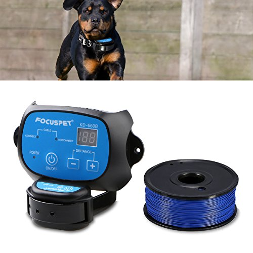 FOCUSPET in Ground Dog Fence System, Outdoor Invisible Electric Wired Dog Fence 655ft Remote Electronic Dog Fence Kit Rechargeable & Waterproof Receiver Collar with Beep/Tone / Shock Mode for Dogs