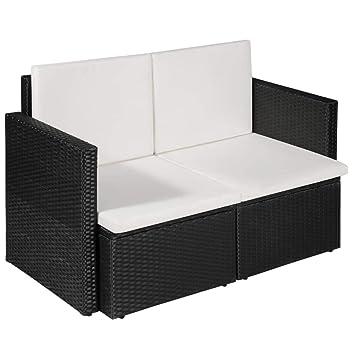 vidaXL Sofá 2 Plazas Ratán Sintético 118x65x74 cm Negro y Crema Terraza Patio