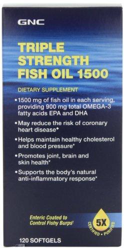 GNC Тройной Сила Рыбий жир 1500 мг, 120 мягких гелей