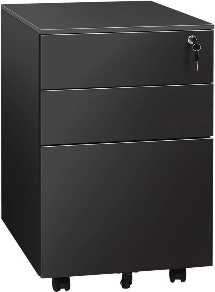 3 Drawer File Cabinet with Lock, Metal Vertical Filing Cabinet Under Desk for Legal Letter File Anti-tilt Design Office Rolling File Cabinet(Black C)