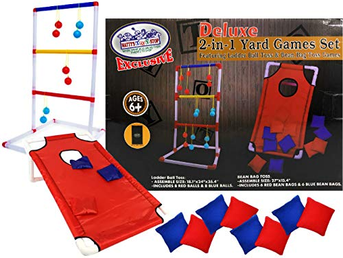 Matty's Toy Stop Deluxe 2-in-1 Yard Games Set Featuring Ladder Ball Toss & Bean Bag Toss Games with Storage Bags (Deluxe Bean Bag)
