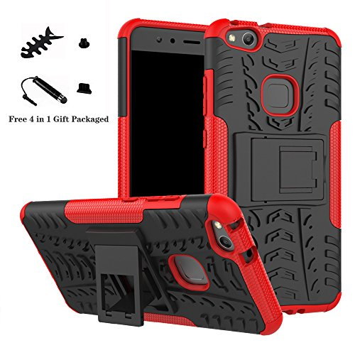 Huawei P10 Lite case,LiuShan Shockproof Heavy Duty Combo Hybrid Rugged Dual Layer Grip Cover with Kickstand For Huawei P10 Lite Smartphone (With 4in1 Free Gift ()