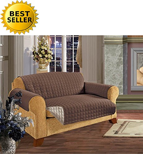 Elegance Linen Quilted Pet Dog Children Kids Furniture Protector Microfiber Slip Cover Sofa, Chocolate