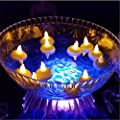 IMAGE Smokeless Waterproof Floating LED Tealight Candle 12 PCS Wedding Holiday Party Decoration Floral Flameless-Cool White/Warm White/Yellow