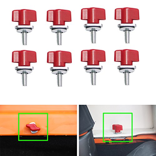 MOEBULB 8pcs Universal Hard Top Quick Removal Fastener Thumb Screw with Nut Kit for Jeep Wrangler YJ TJ JK JKU & Unlimited 1995-2017 (Red)