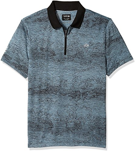 (Lacoste Men's Short Sleeve Jersey Tech All Over Print Zip Placket Polo, DH3133, Black/Pewter XXX-Large)