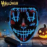 YXwin Purge Mask Light up LED Halloween Mask for Adults Men Women Boys Girls (Blue1, DoubleV)