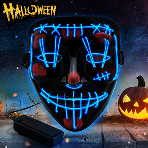 YXwin Purge Mask Light up LED Halloween Mask for Adults Men Women Boys Girls (Blue1,