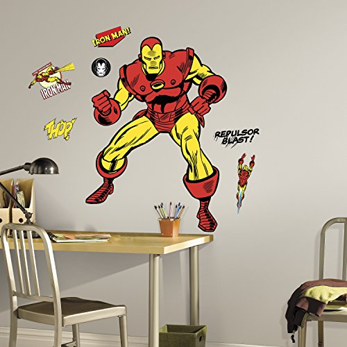Invincible Comic Costume (RMK3252GM Classic Iron Man Comic Peel and Stick Giant Wall Decals,)