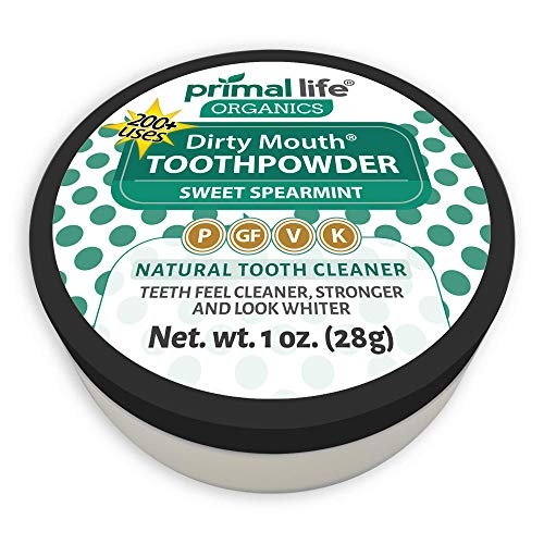 (Dirty Mouth Organic Sweet Spearmint Toothpowder #1 Rated Best All Natural Dental Cleanser - Gently Polishes! Feel Cleaner, Stronger and Whiter Teeth- Primal Life Organics 1oz 1oz))