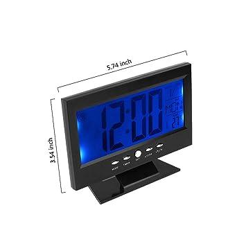 Wenquan,Hora Mundial Moderno Reloj Despertador Digital LCD LED retroiluminación Snooze Gran Dígito Escritorio(Color:Negro): Amazon.es: Hogar