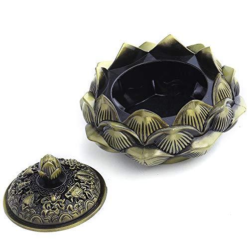 Gold Serral Incense Holder Burner Tibet Ash Catcher Stick Holder Lotus for Yoga//Meditation Room Home Decor