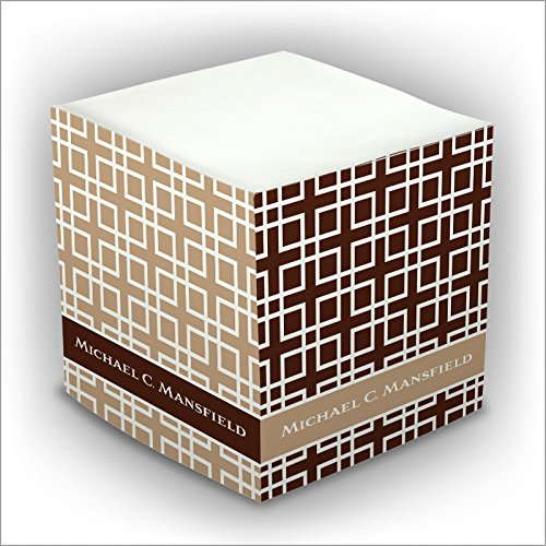 ick Memo Cube - Brown Geometric - 2807_11 (Personalized Memo Cube)