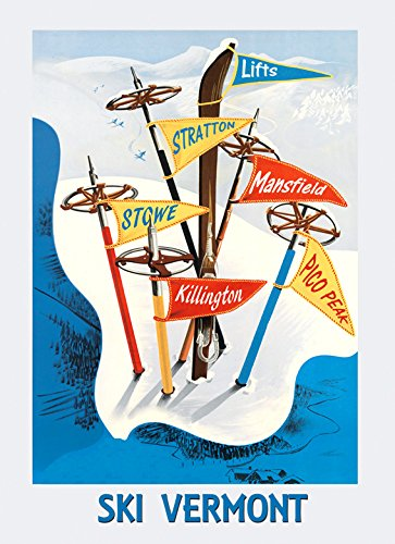 "Ski Skiing in Vermont Lifts Stratton Stowe Mansfield Pico Peak Killinton USA Winter Sport Vintage Poster Repro 16"" X 22"" Image Size. We Have Other Sizes Available!"