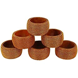 ShalinIndia Handmade Indian Copper Aluminum Ball Chain Wooden Napkin Rings - Set of 6 Napkin Holders - Industrial Chic Look - Made in India
