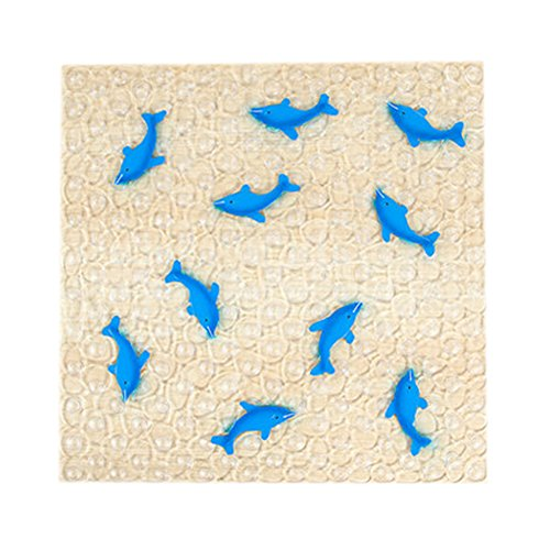 Lovely Dolphin PVC Non-Slip Bath Mat with Suction Cups (54*54CM Blue)