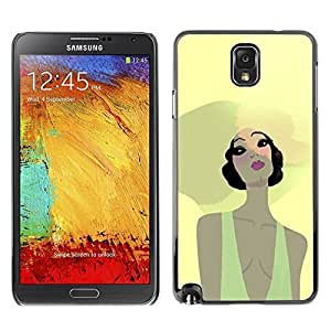 Colorful Printed Hard Protective Back Case Cover Shell Skin for SAMSUNG Galaxy Note 3 III / N9000 / N9005 ( Beach Summer Girl Portrait Big Hat Yellow )