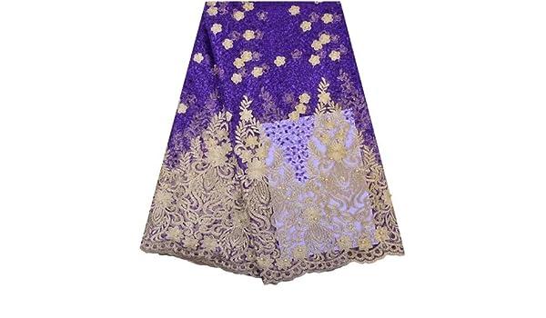 Vestido de encaje africano bordado con encaje nigeriano para novia, tela de encaje de tul francés de alta calidad para mujer A1286, Style 7, As Shown in the Picture: Amazon.es: Hogar