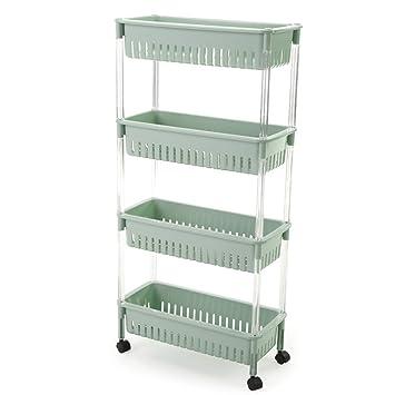 Ordinaire SUNLIGHTAM 4 Tier Kitchen Trolley On Wheel Vegetable Fruit Storage Rack  Basket Corner Shelf Slim Slide