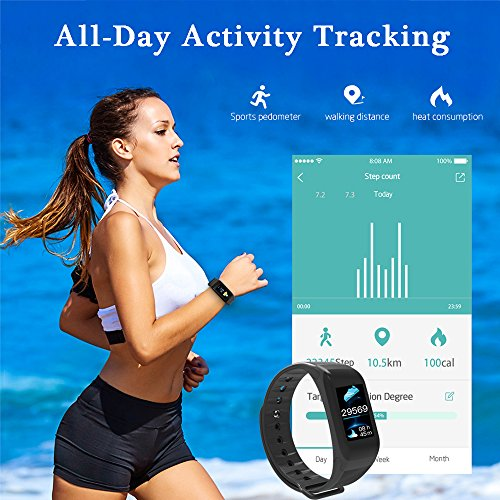 Fitness Tracker, Activity Tracker with HD Colorful Touch Screen,Health Tracker with HR/Blood Pressure/Blood Oxygen/Sleep Monitor,Fitness Watch IP67 Waterproof Smart Band with Calorie Counter Pedometer by TIISON (Image #2)