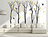 Fymural Large 5 Poplar Trees Wall Stickers Art Mural Wallpaper for Kid Baby Nursery Livingroom Background Vinyl Removable DIY Decals 133.9x102.4,Black