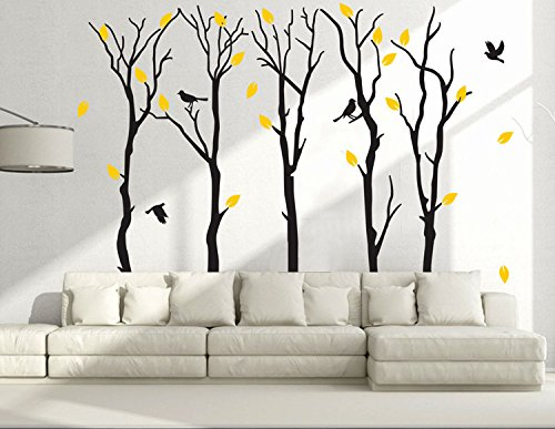 Fymural Large 5 Poplar Trees Wall Stickers Art Mural Wallpaper for Kid Baby Nursery Livingroom Background Vinyl Removable DIY Decals 133.9x102.4,Black by Fymural
