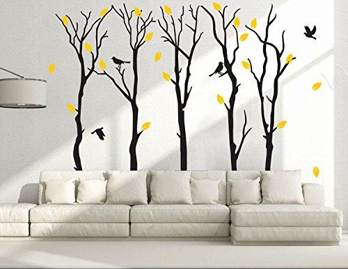 Fymural Large 5 Poplar Trees Wall Stickers Art Mural Wallpaper for Kid Baby Nursery Livingroom Background Vinyl Removable DIY Decals 133.9x102.4,Black by Fymural (Image #4)