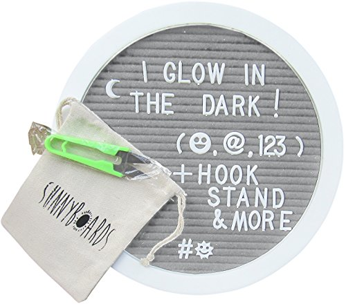 SunnyBoards 10x10 premium wood round felt letter board -Glow in the dark & white 3/4inch 340 character letter sets with numbers & emojis -hook,scissors,cotton bag - good for kids & (Halloween Words 10 Letters)