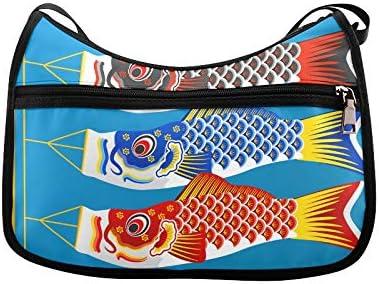Auspicious Beautiful Koi Messenger Bag Crossbody Bag Large Durable Shoulder School Or Business Bag Oxford Fabric For Mens Womens